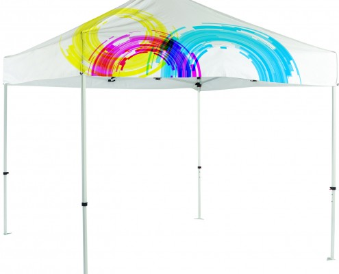 colorful banner tent